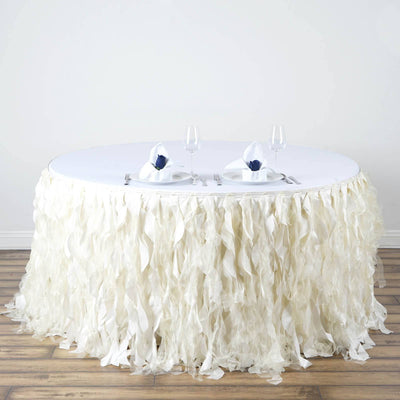 21ft Enchanting Curly Willow Taffeta Table Skirt - Ivory