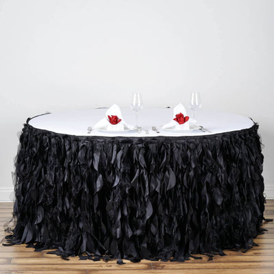 14ft Enchanting Curly Willow Taffeta Table Skirt - Black
