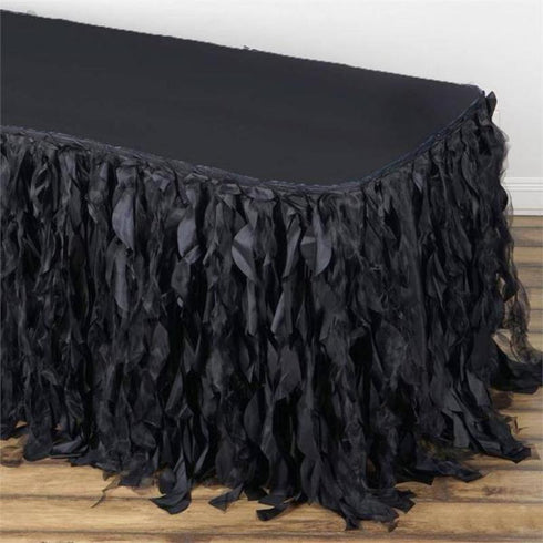 14FT Curly Willow Taffeta Table Skirt - Black