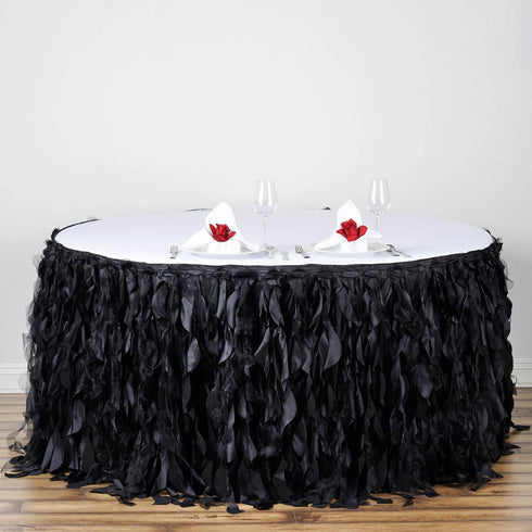 21ft Enchanting Curly Willow Taffeta Table Skirt - Black