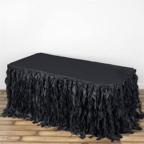 21FT Black Curly Willow Taffeta Table Skirt