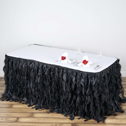 17FT Black Curly Willow Taffeta Table Skirt