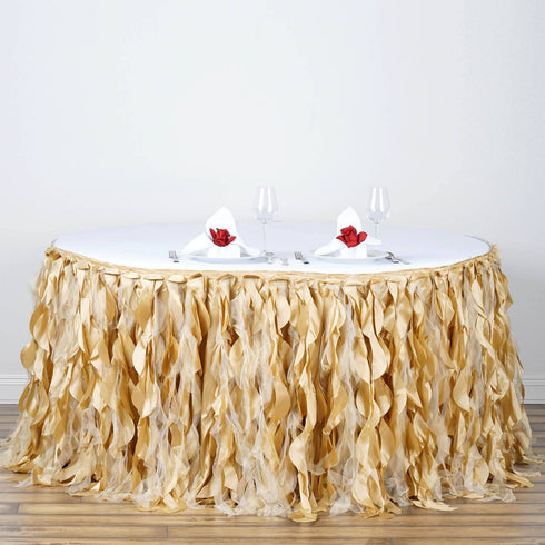 14ft Enchanting Curly Willow Taffeta Table Skirt - Champagne