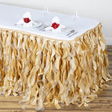 14FT Champagne Curly Willow Taffeta Table Skirt