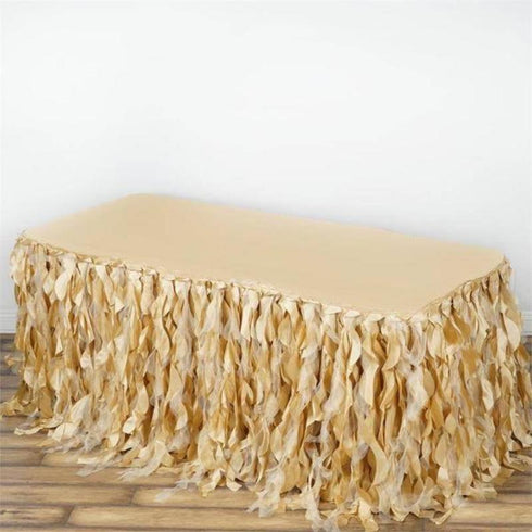 21FT Curly Willow Taffeta Table Skirt - Champagne