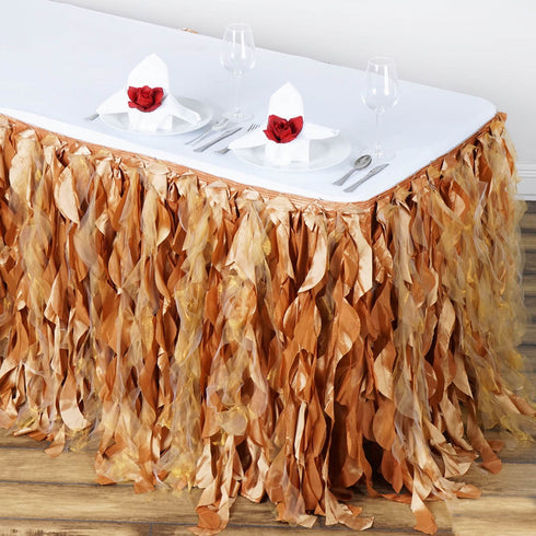 14FT Gold Curly Willow Taffeta Table Skirt