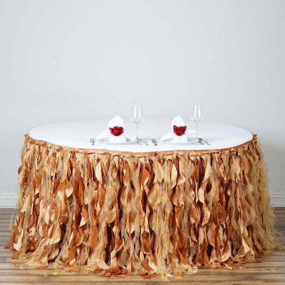 17ft Enchanting Curly Willow Taffeta Table Skirt - Gold