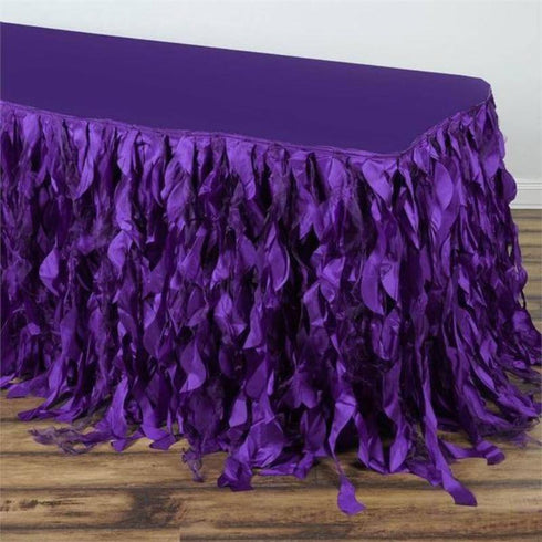 17FT Curly Willow Taffeta Table Skirt - Purple