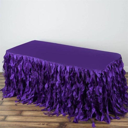 21FT Curly Willow Taffeta Table Skirt - Purple