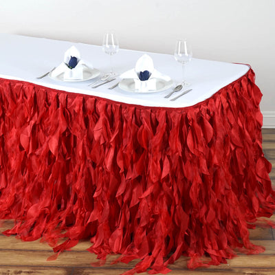 14FT Red Curly Willow Taffeta Table Skirt