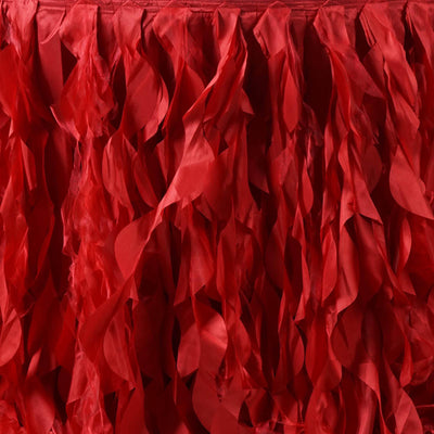 21ft Enchanting Curly Willow Taffeta Table Skirt - Red