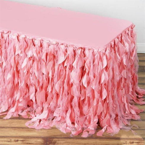 14FT Curly Willow Taffeta Table Skirt - Rose Quartz