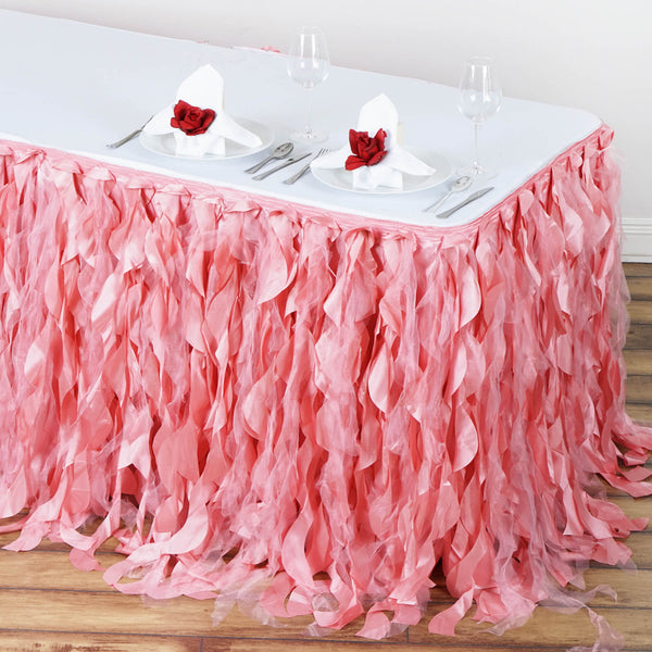 14FT Rose Quartz Curly Willow Taffeta Table Skirt