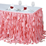 17FT Rose Quartz Curly Willow Taffeta Table Skirt