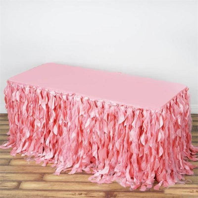 21FT Curly Willow Taffeta Table Skirt - Rose Quartz
