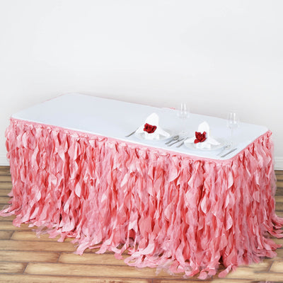 21FT Rose Quartz Curly Willow Taffeta Table Skirt