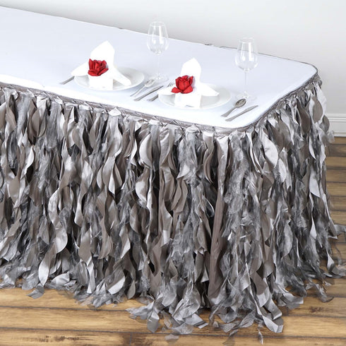 14FT Silver Enchanting Pleated Curly Willow Taffeta Party Table Skirt