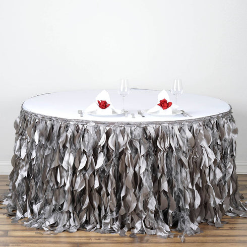 17ft Enchanting Curly Willow Taffeta Table Skirt - Silver