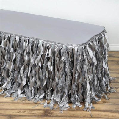17FT  Curly Willow Taffeta Table Skirt - Silver