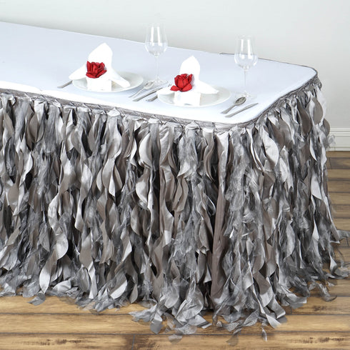 17FT Silver Curly Willow Taffeta Table Skirt