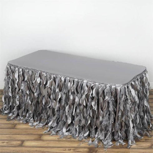 21FT  Curly Willow Taffeta Table Skirt - Silver