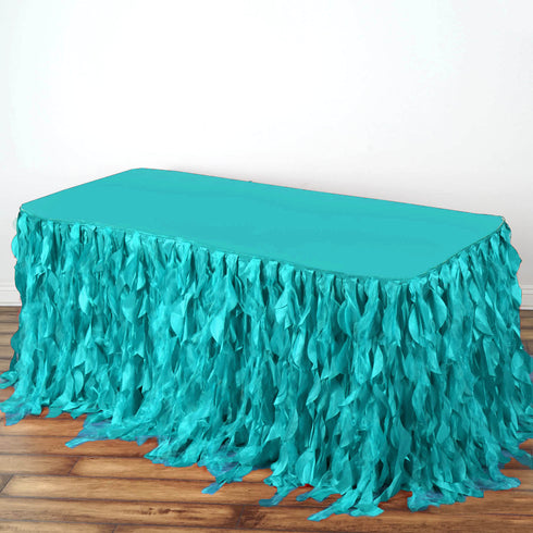 21FT Turquoise Curly Willow Taffeta Table Skirt