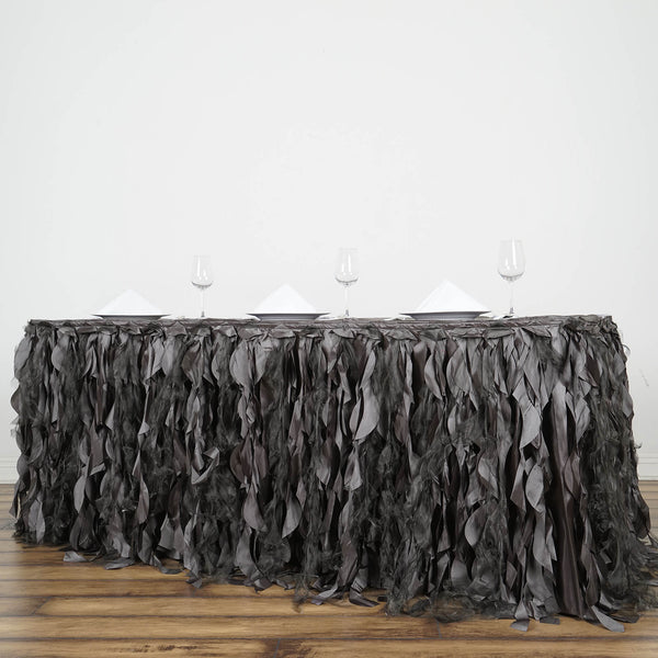 14FT Charcoal Gray Curly Willow Taffeta Table Skirt