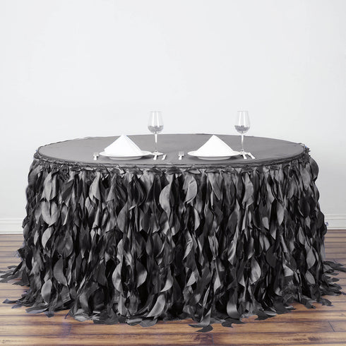 17FT Charcoal Grey Curly Willow Taffeta Table Skirt