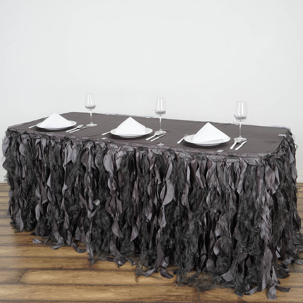 17FT Charcoal Gray Curly Willow Taffeta Table Skirt