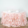 14FT  Curly Willow Taffeta Table Skirt- Rose Gold | Blush