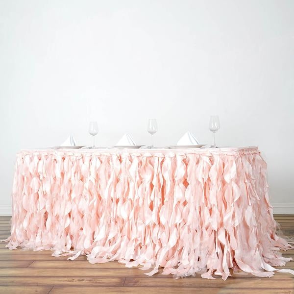 14FT Rose Gold | Blush Curly Willow Taffeta Table Skirt