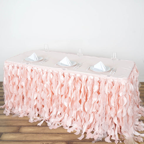 21FT Rose Gold | Blush Curly Willow Taffeta Table Skirt