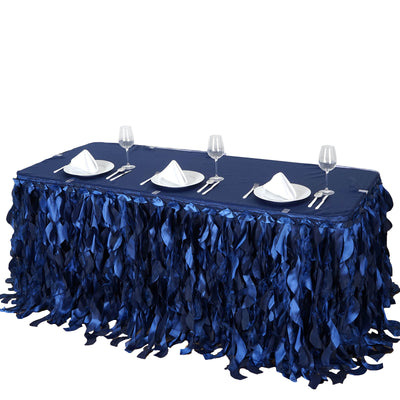 14FT Navy Blue Curly Willow Taffeta Table Skirt