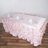 14 FT Blush Chambury Casa Pleated Satin Lamour Table Skirt