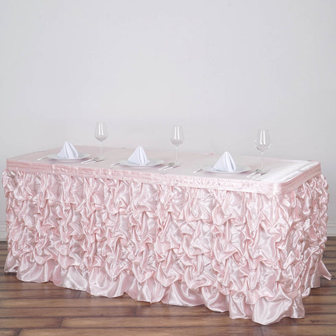 17 FT Blush | Rose Gold Chambury Casa Pleated Satin Lamour Table Skirt