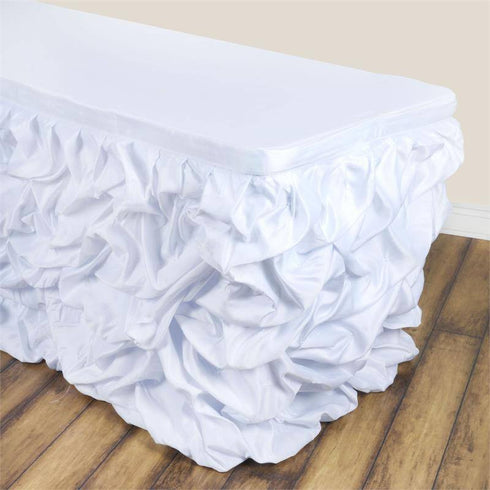 14ft CHAMBURY CASA Chic Miteux Lamour Table Skirt - White