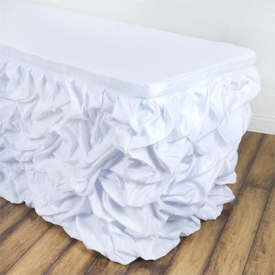 21ft CHAMBURY CASA Chic Miteux Lamour Table Skirt - White