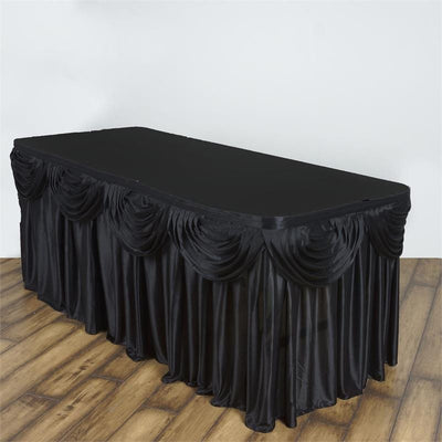 Black Satin Double Drape Table Skirt 21'