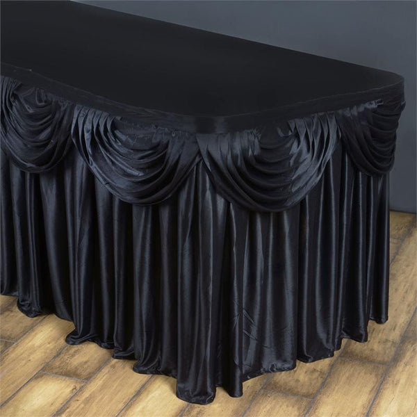 14FT Black Pleated Satin Double Drape Table Skirt