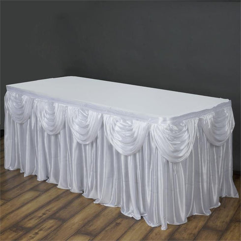 White Satin Double Drape Table Skirt 14'