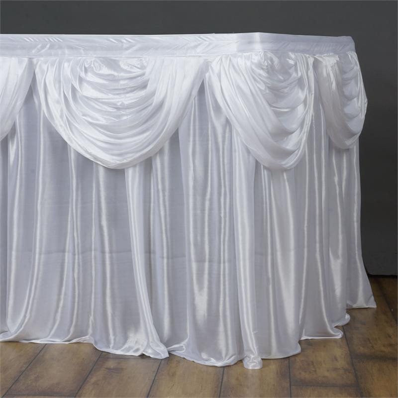 White Satin Double Drape Table Skirt 21'