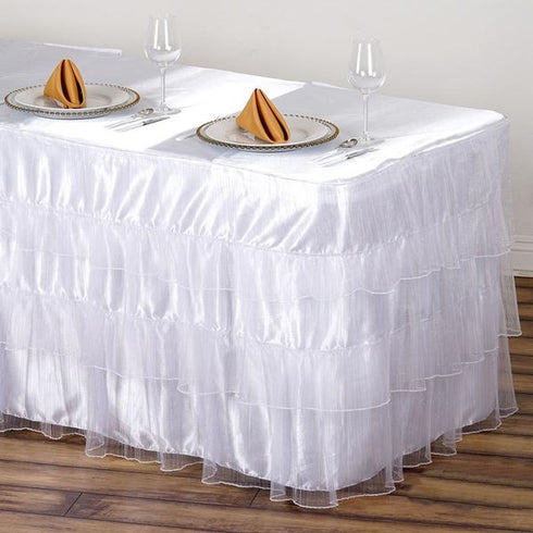14FT 3 Layered Pleated Organza Table Skirt With Satin Bottom - White