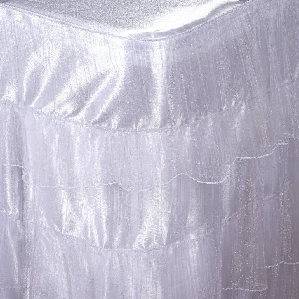3 Layered Wholesale Organza Pleated Table Skirt With Satin Bottom - White - 17 FT