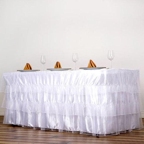 17FT 3 Layered Pleated Organza Table Skirt With Satin Bottom - White