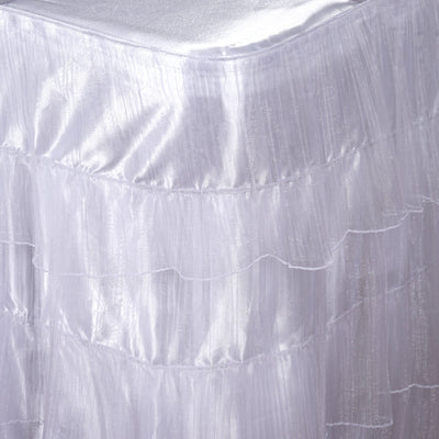 21FT 3 Layered Pleated Organza Table Skirt With Satin Bottom - White