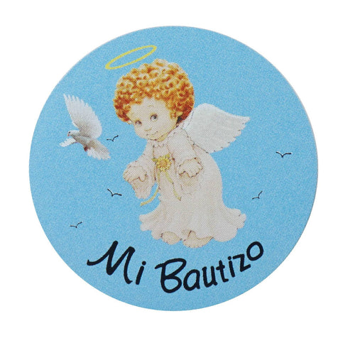Mi Bautizo Round Stickers 100pcs - Blue