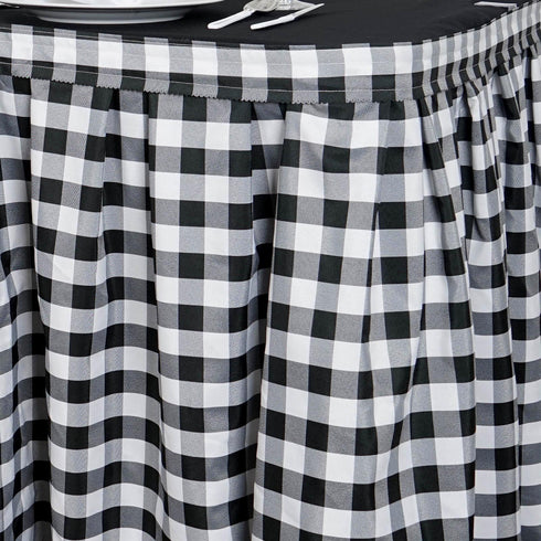 14FT Checkered Gingham Polyester Table Skirt -  White/Black