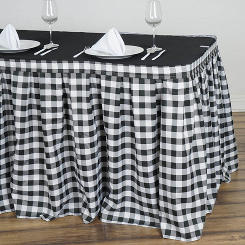 17FT Checkered Gingham Polyester Table Skirt -  White/Black