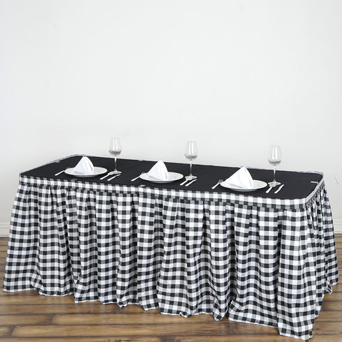 17FT White/Black Checkered Gingham Polyester Table Skirt