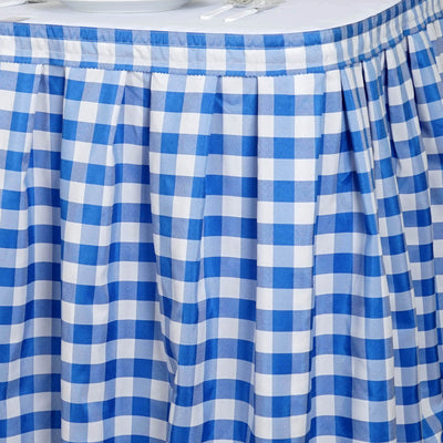 14FT Checkered Gingham Polyester Table Skirt - White/Blue